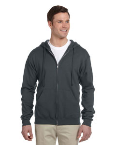 Black Heather 8 oz., 50/50 NuBlend® Fleece Full-Zip Hood