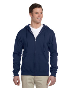 J Navy 8 oz., 50/50 NuBlend® Fleece Full-Zip Hood