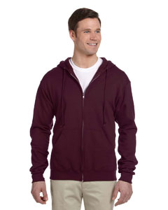 Maroon 8 oz., 50/50 NuBlend® Fleece Full-Zip Hood