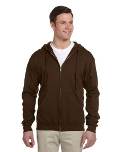 Chocolate 8 oz., 50/50 NuBlend® Fleece Full-Zip Hood