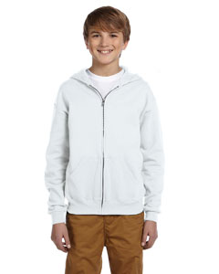 White Youth 8 oz., 50/50 NuBlend® Fleece Full-Zip Hood