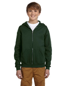 Forest Green Youth 8 oz., 50/50 NuBlend® Fleece Full-Zip Hood