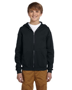 Black Youth 8 oz., 50/50 NuBlend® Fleece Full-Zip Hood