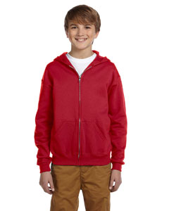 True Red Youth 8 oz., 50/50 NuBlend® Fleece Full-Zip Hood