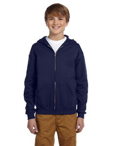 J Navy Youth 8 oz., 50/50 NuBlend® Fleece Full-Zip Hood