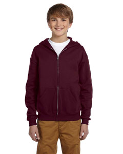 Maroon Youth 8 oz., 50/50 NuBlend® Fleece Full-Zip Hood