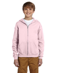 Classic Pink Youth 8 oz., 50/50 NuBlend® Fleece Full-Zip Hood