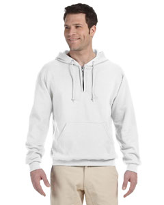 White 8 oz., 50/50 NuBlend® Fleece Quarter-Zip Pullover Hood