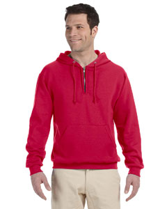 True Red 8 oz., 50/50 NuBlend® Fleece Quarter-Zip Pullover Hood