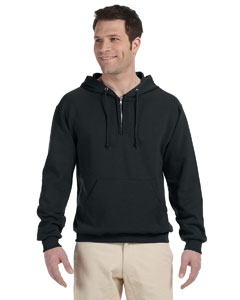 Black 8 oz., 50/50 NuBlend® Fleece Quarter-Zip Pullover Hood