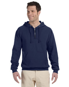 J Navy 8 oz., 50/50 NuBlend® Fleece Quarter-Zip Pullover Hood