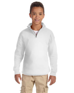 White Youth 8 oz., 50/50 NuBlend® Quarter-Zip Cadet Collar Sweatshirt