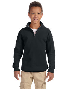 Black Youth 8 oz., 50/50 NuBlend® Quarter-Zip Cadet Collar Sweatshirt