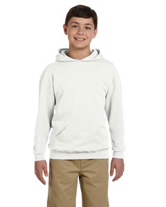 White Youth 8 oz., 50/50 NuBlend® Fleece Pullover Hood