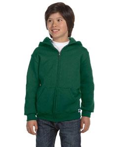 Dark Green Youth Dri-Power® Fleece Full-Zip Hood