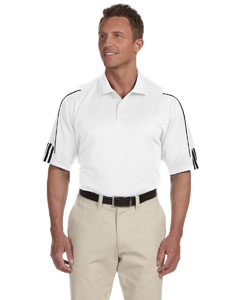 White/black Men's ClimaLite® 3-Stripes Cuff Polo