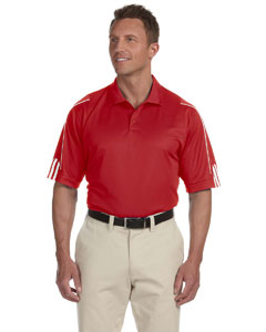 University Red/white Men's ClimaLite® 3-Stripes Cuff Polo