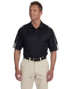 Black/white Men's ClimaLite® 3-Stripes Cuff Polo
