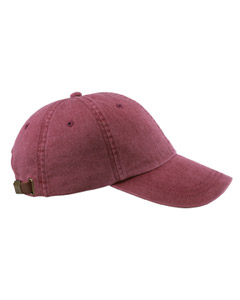 Burgundy 6-Panel Low-Profile Washed Pigment-Dyed Cap