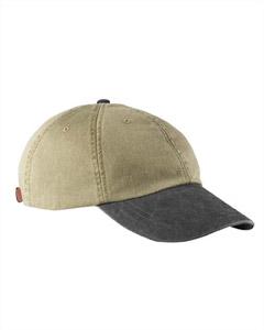 Khaki/black 6-Panel Low-Profile Washed Pigment-Dyed Cap