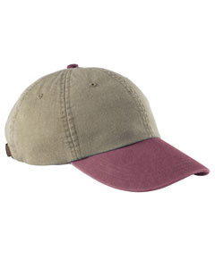 Khaki/burgandy 6-Panel Low-Profile Washed Pigment-Dyed Cap