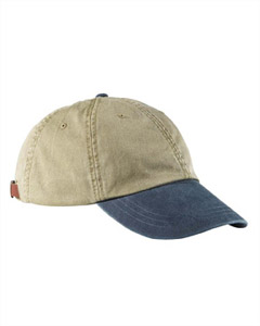 Khaki/navy 6-Panel Low-Profile Washed Pigment-Dyed Cap