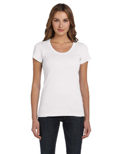 White Women's 1x1 Baby Rib Short-Sleeve Scoop Neck T-Shirt