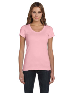 Pink Women's 1x1 Baby Rib Short-Sleeve Scoop Neck T-Shirt