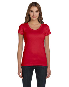 Red Women's 1x1 Baby Rib Short-Sleeve Scoop Neck T-Shirt