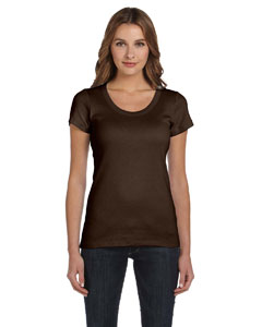 Chocolate Women's 1x1 Baby Rib Short-Sleeve Scoop Neck T-Shirt