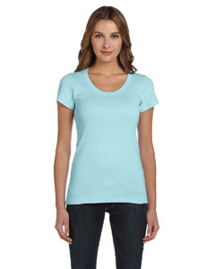 Light Aqua Women's 1x1 Baby Rib Short-Sleeve Scoop Neck T-Shirt