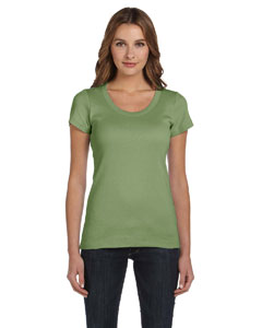 Moss Green Women's 1x1 Baby Rib Short-Sleeve Scoop Neck T-Shirt
