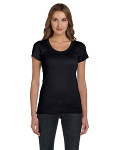 Black Women's 1x1 Baby Rib Short-Sleeve Scoop Neck T-Shirt