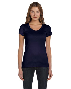 Navy Women's 1x1 Baby Rib Short-Sleeve Scoop Neck T-Shirt