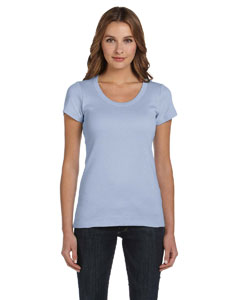 Baby Blue Women's 1x1 Baby Rib Short-Sleeve Scoop Neck T-Shirt