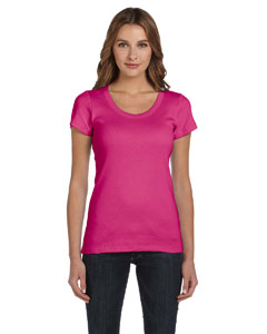 Raspberry Women's 1x1 Baby Rib Short-Sleeve Scoop Neck T-Shirt