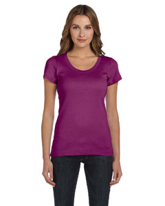Currant Women's 1x1 Baby Rib Short-Sleeve Scoop Neck T-Shirt