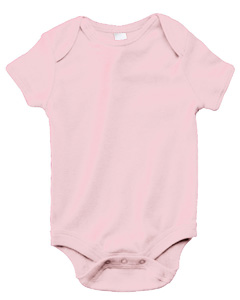 Pink Infant Short-Sleeve Baby Rib One-Piece