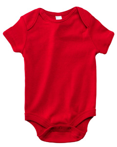 Red Infant Short-Sleeve Baby Rib One-Piece