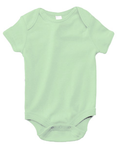 Pale Green Infant Short-Sleeve Baby Rib One-Piece