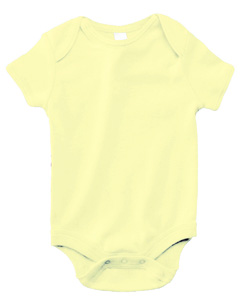 Pale Yellow Infant Short-Sleeve Baby Rib One-Piece