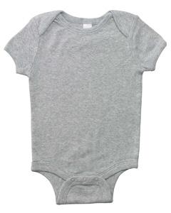 Athletic Heather Infant Short-Sleeve Baby Rib One-Piece