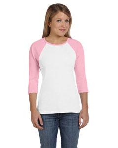White/pink Women's Baby Rib 3/4-Sleeve Contrast Raglan T-Shirt
