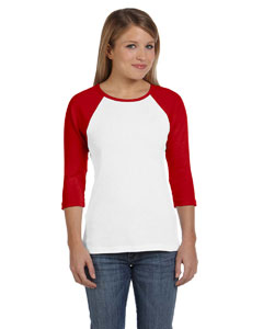 White/red Women's Baby Rib 3/4-Sleeve Contrast Raglan T-Shirt