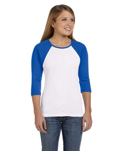 White/true Royal Women's Baby Rib 3/4-Sleeve Contrast Raglan T-Shirt