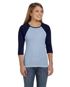 Baby Blue/navy Women's Baby Rib 3/4-Sleeve Contrast Raglan T-Shirt
