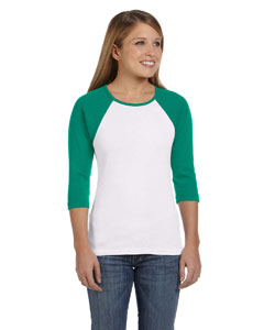 White/kelly Women's Baby Rib 3/4-Sleeve Contrast Raglan T-Shirt