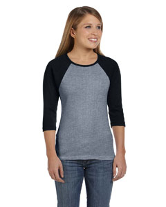 Deep Heather/blk Women's Baby Rib 3/4-Sleeve Contrast Raglan T-Shirt