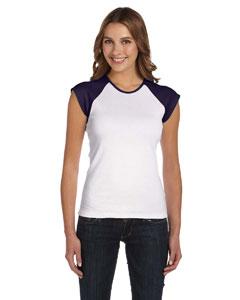 White/navy Women's Baby Rib Cap-Sleeve Contrast Raglan T-Shirt