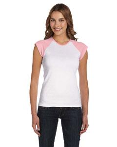 White/pink Women's Baby Rib Cap-Sleeve Contrast Raglan T-Shirt